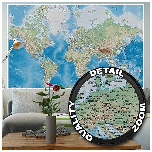 GREAT ART® XXL Poster – Weltkarte – Wandbild Dekoration Miller Projektion im Plastischen Reliefdesign Erde Atlas Weltkugel Landkarte Geographie Wandposter Wanddeko Wandgestaltung (140 x 100 cm)