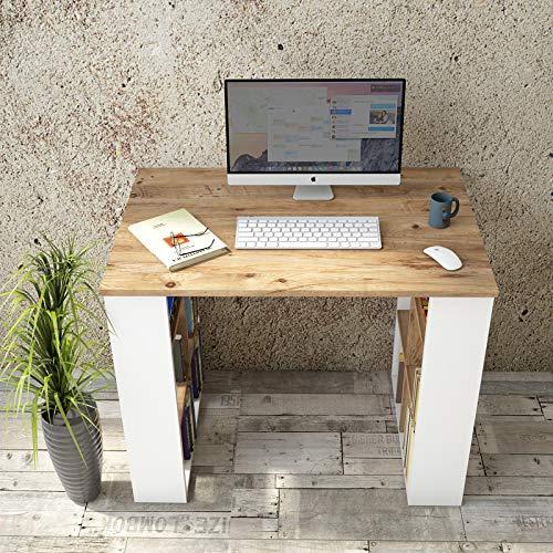 Yurupa Schreibtisch Computertisch Gaming Pc Tisch Arbeitstisch Bürotisch Eiche-Weiß BR1-AW