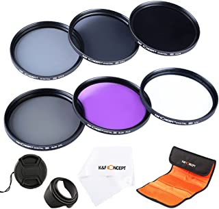 K&F Concept 58mm Filtro Kit UV CPL FLD ND2 ND4 ND8 Packs de Filtro Fotográfico para CANON EOS Rebel T5i T4i T3i T3 T2i T1i XT XTi XSi SL1 DSLR Cámaras + Pétalo de Flor en Lente + Centro de Pellizco Tapa Del Objetivo + Paño de Liempieza microfibras + 6 Ranura Filtro Bolsa