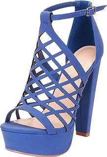 Cambridge Select Women's Open Toe Caged Laser Cutout Chunky Platform High Heel Sandal