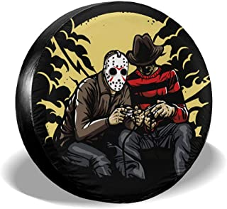 Smerkpawr Jason Voorhees Car Tire Covers Portable Eco-Friendly Spare Wheel Cover Waterproof Universal Wheel Accessories (14,15,16,17 Inch)
