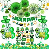 St Patricks Day Decorations, 92 Pcs St Patricks Day Accessories for Irish Party Supplies - Including Hanging Swirl, Paper Fan, Luck Banner, Photo Booth Props, Confetti and Balloon