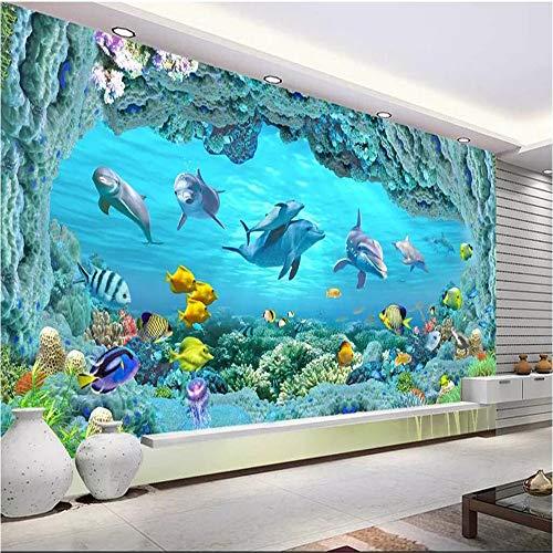 Fototapete 3D Effekt Tapete Unterwasserwelt Kinderzimmer Delphin Vliestapete 3D Wallpaper Moderne Wanddeko Wandbilder