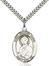 Bonyak Jewelry St. Dominic Savio Hand-Crafted Oval Medal Pendant in Sterling Silver