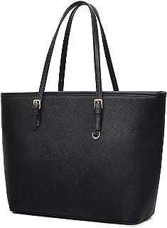 COOFIT Handtasche Damen Schwarz, COOFIT Tote Umhängetasche Damen Schwarz Groß Handtasche Synthetisches Leder Schwarz Taschen Damen Aktentasche Damen Shopper Schwarz