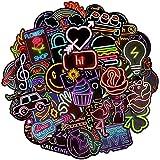 BETOY Neón Pegatinas, 100 Piezas Neón Stickers Neón Moto Graffiti Stickers Neón Maleta Pegatinas para Décoration de Fête, Motocicleta, Equipaje, Computadora, Decoración de Bricolaje,4-8cm