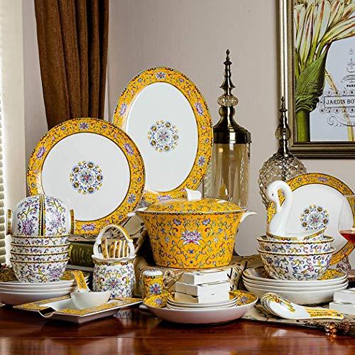 WEHOLY Set di stoviglie in Porcellana Europea per la Cena in Porcellana Set da 60 Piatti e scodelle Set da Regalo (60...