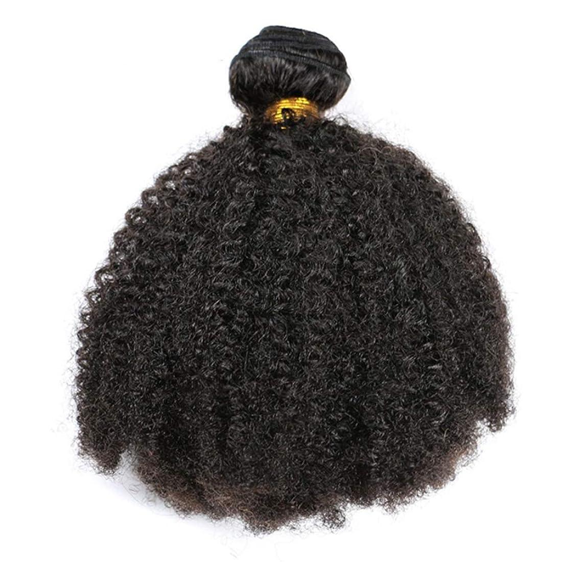 コーン全体施しYrattary ブラジルの髪1バンドルアフロ変態カーリーヘアー織り人毛100%エクステンションナチュラルブラック複合毛レースのかつらロールプレイングかつら (色 : 黒, サイズ : 26 inch)