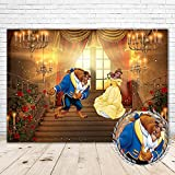 Beauty and The Beast Photo Backdrop 7x5 Gold Palace Red Curtain Beauty and The Beast Background Wedding Theme for Pictures Vinyl African Belle Backdrops for Girls 1st Birthday