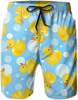 Yellow Rubber Duck Men Swim Trunks Drawstring Elastic Waist Surfing Beach Board Shorts