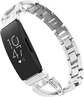 TiMOVO Band Replacement Compatible for Fitbit Inspire/Inspire HR, Premium X-Link Alloy Band with Inlaid Rhinestones Fit Fitbit Inspire/Inspire HR - Silver