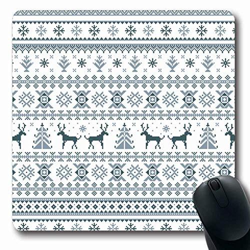 Jamron Mousepad OblongChristmas Swedish Xmas Folk Deer Snow Flake Tree Nordic Line Dark Blue Beige Reindeer Pixel Raster Non-Slip Rubber Mouse Pad Office Computer Laptop Games Mat