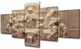 The Last Supper Wal Art la ultima cena cuadro Pictures for Living Room Christian Paintings Jesus Christ Artwork 5 Piece Canvas Home Decor for Living Room Framed Stretched Ready to Hang(50''Wx24''H)