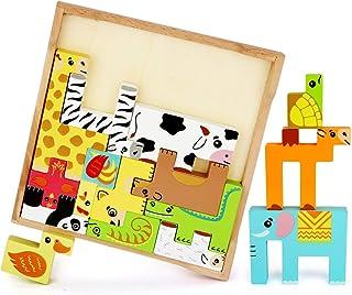 LBLA Träpussel djur Tetris pussel trä stapelblock balanserande spel, djur stapling block Montessori leksaker pedagogiska l...