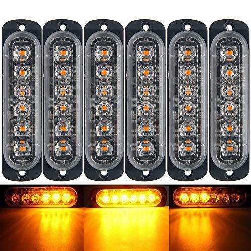 D'urgence lumière stroboscopique, Maso Ambre restauration de voiture 6led Barre lumineuse Orange Grill Panne clignotant 18 modes 12/24 V Lot de 2