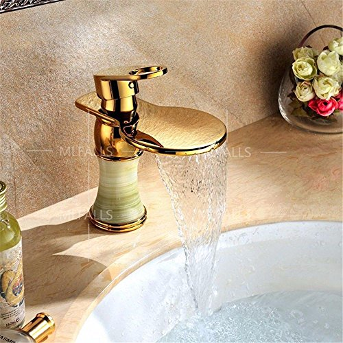 Grifo de cocina con cascada, latón dorado, estilo cascada, salida de agua caliente y fría, válvula de cerámica, montaje con una sola mano