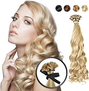 RemeeHi Beauty Real Human Hair Long Curly U Nail Tip Hair Extension For Women 100g 16 Inch Per Pack 1# Jet Black