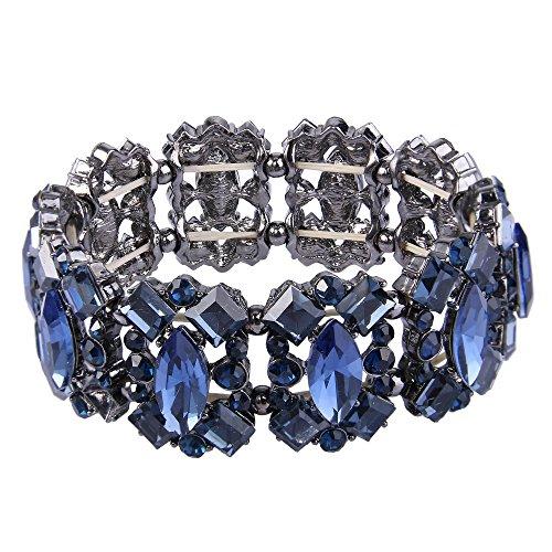 EVER FAITH Navy Blue Rhinestone Crystal Art Deco Wedding Banquet Elastic Stretch Bracelet Black-Tone