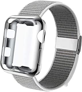 GBPOOT Compatible with Apple Watch Band 38mm 40mm 42mm 44mm with Screen Protector Case,Soft Breathable Sport Loop Replacement Wristband Compatible with Apple Watch Iwatch Series 1/2/3/4/5