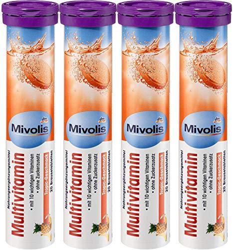 Mivolis Multivitamin effervescent Tablets - Dietary Supplements 4 Packs x 20 pcs | Germany
