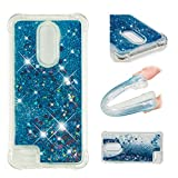 CUAgain Funda para LG K10 2018/LG K11 Silicona Goma Transparente Glitter 3D Bling Dibujos Cover LG K11 Carcasa Cristal Liquida Case Antigolpes Resistenete Bumper Niña Chica,Azul