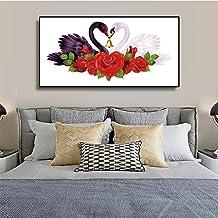 YuanMinglu Nórdico Abstracto romántico Cisne Lienzo Pintura Flor póster e impresión Cisne Pared Imagen Sala niños Dormitorio decoración del hogar Pintura sin Marco 60X120CM