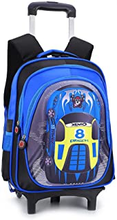 YUB Car School Bag Drawbars Trolley Bag Backpack with Wheels Rolling Backpacks for School Kids Waterproof Blue with Two Wheels