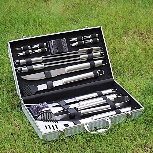 61XuGhEpCqL - Knoijijuo 19Pcs Edelstahl Grillbesteck Set Im Aluminium-Koffer BBQ Grill Zubehör Set Fürs Camping Mit Geschenkpaket, Ideales