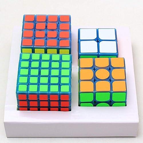 JIAAE Ensemble De Cube Magique Bleu Lumineux, Cube De 2X2 3X3 4X4 5X5 De Puzzle Professionnel De Vitesse De Concurrence, Grands Cadeaux pour des Enfants Et des Adultes
