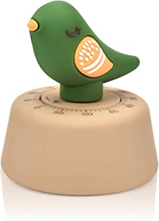 JTX Kitchen Timer Craft Mechanical Wind Up 60 Minutes Timer Home Decor (Green Bird)