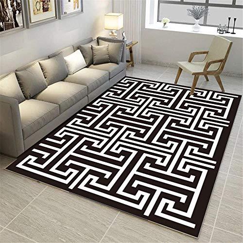 Kunsen alfombras a Medida Online House Alfombra de Sala de Estar en Blanco y Negro, Resistente al Desgaste, no desvanecido y Lavable alfombras pequeñas 60x90cm 1ft 11.6' X2ft 11.4'