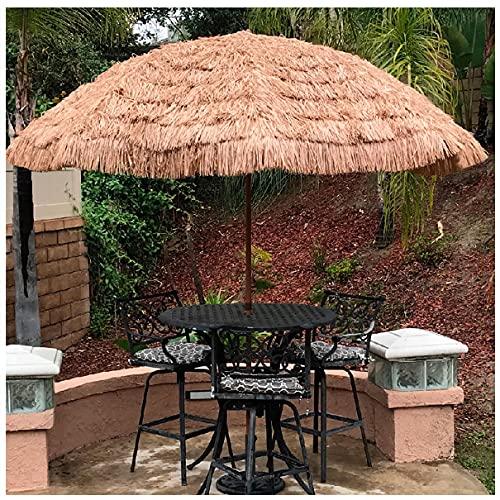 WUKALA Simulación Paraguas de Paja,Sombrilla de Playa Antiviento Sombrillas Terraza UPF50+ Estilo Hawaiano de Paja de Rafia Gruesa,para Piscina Pequeño Jardín Césped
