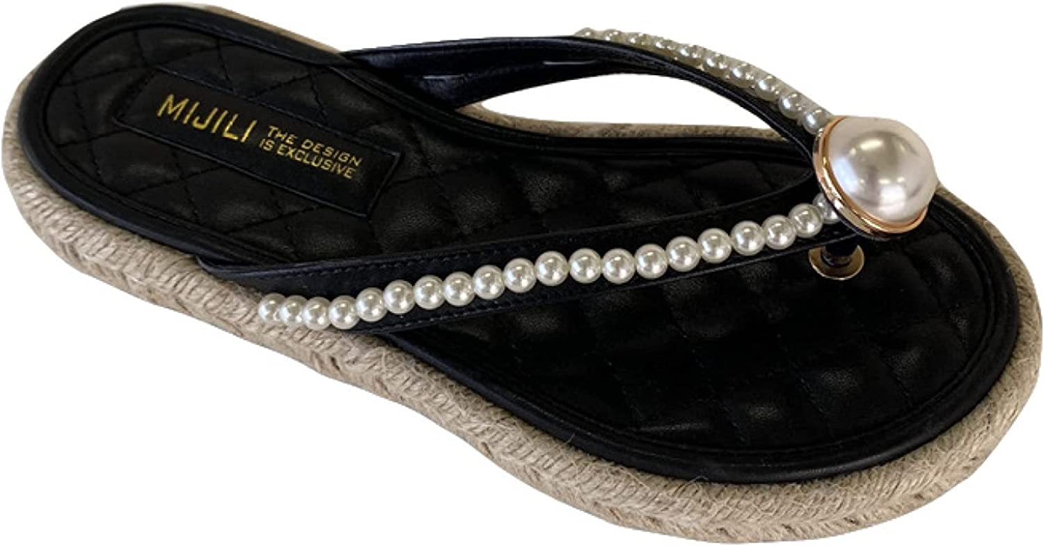 Comfy PU Pearl 4 years We OFFer at cheap prices warranty Thong Style Platform Sanda Flops Flip Espadrilles