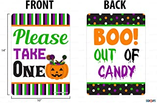 Interstate SignWays Please Take One, Boo Out of Candy Halloween Double Sided Sign, Reflective, Aluminum, 10