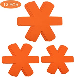 Pot Pan Protectors, Larger & Thicker Pan Protector Pads, Gray/Cyan/Orange Pan Protectors Available, 3 Different Sizes, 12 Pcs Pan Divider Pads for Protecting and Separating Your Cookware(Orange)