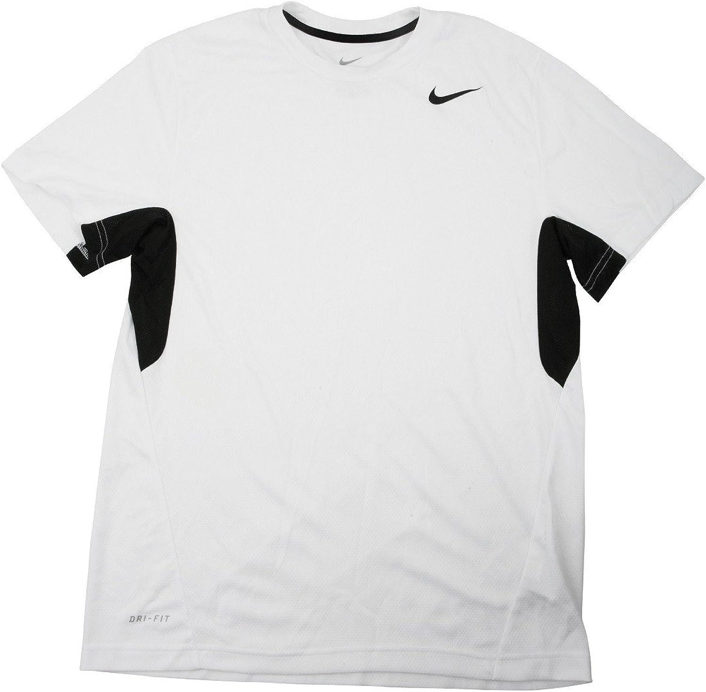 Nike Men's Vapor White Black Dri-FIT Tee Shirt - Small