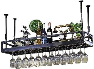 Casier à vin suspendu, support de vin pour plafond, étagère de bar, porte-verre à vin et à bouteille, support de poignée, ...