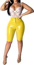 Blansdi Women PU Bodycon Shorts Pants High Waist Slim Fit Zipper Faux Leather Skinny Pant