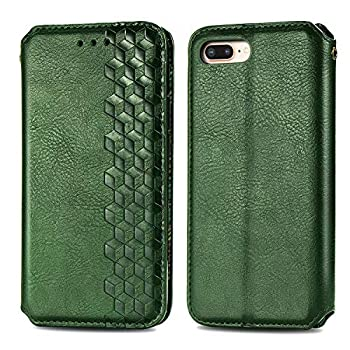 Trugox Wallet Case for iPhone 8 Plus / 7 Plus / 6S Plus with Card Holder Stand Flip Case Cover Men Women Thin Fit Leather Phone Case for Apple iPhone 7 Plus / 8 Plus / 6 Plus - TRSDA120404 Green