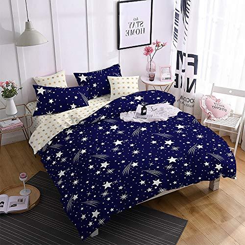 FEBE Microfaser doppelseitige Bettwäsche | 135x200cm | Sterne-Muster | 3-Teilig Bettbezug-Set mit Reißveschluss | Schlafkomfort & Modernes Design | Waschmaschinenfest
