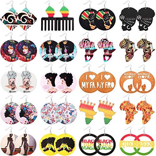 20 Pairs African Women Wooden Earrings African Map Painted Drop Earrings Round Ethnic Dangle Earrings for Women Girls Favors (Novel Style)