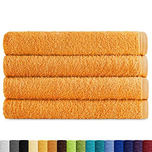 Eiffel Textile Juegos de Toallas Calidad Rizo 400 gr, Algodón Egipcio 100%, Azafrán, Lavabo 50x100 cm, 4 Unidades