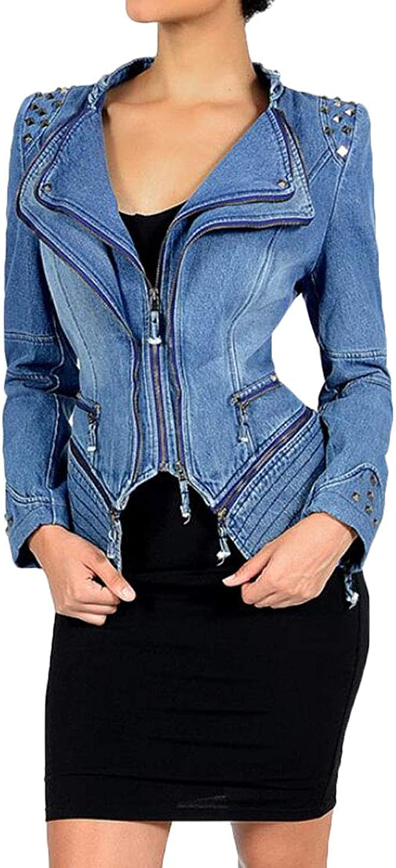 Domple Women's Oblique Zipper Casual Irregular Biker Moto Denim Jacket Coat