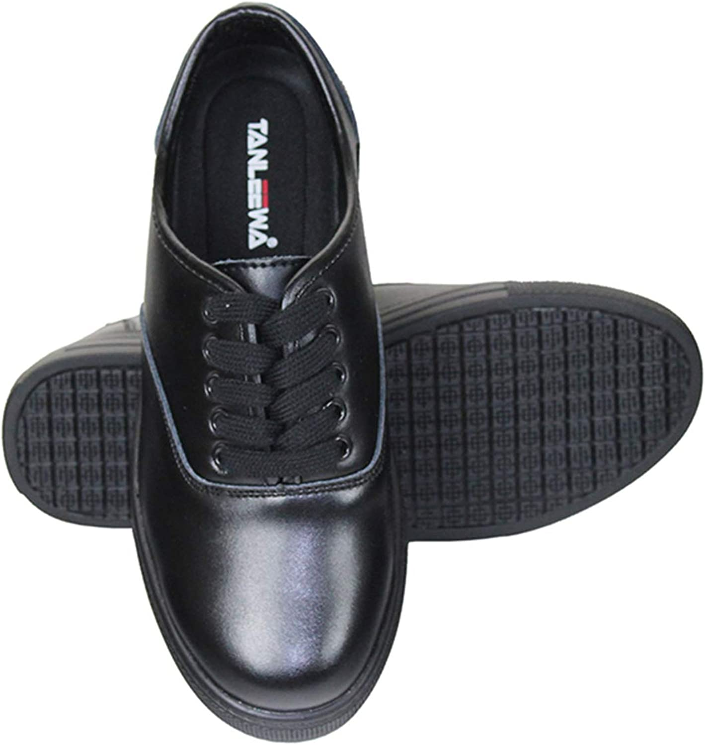 Tanleewa famous Womens Slip Resistant Lace Up Challenge the lowest price of Japan Leather Work Black Shoes