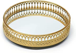 Homentum Vintage Gold Mirror Jewelry Tray Display Stand Tray Decorative Round Ring Case Key Holder Plate Round Tray for Ba...