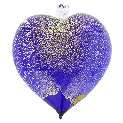 GlassOfVenice Murano Glass Heart Christmas Ornament - Blue Gold