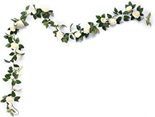 MEHELANY Artificial Rose Vine Flowers with Green Leaves 7.5ft Fake Silk Rose Hanging Vine Flowers Garland Ivy Plants for Home Wedding Party Garden Wall Decoration (Cream)