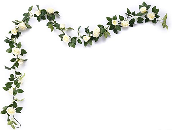 Aurdo Artificial Rose Vine Flowers With Green Leaves 7 5ft Fake Silk Rose Hanging Vine Flowers Garland Ivy Plants For Home Wedding Party Garden Wall Decoration Cream