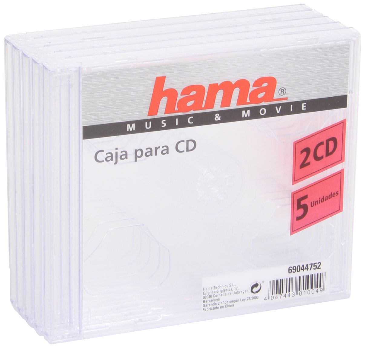 Hama 044752 - Caja para 2 CDs, 5 Unidades, Color Transparente: Amazon.es: Electrónica
