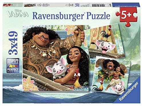 Vaiana - Puzzles, 3 x 49 piezas (Ravensburger 80045) , Modelos/colores Surtidos, 1 Unidad
